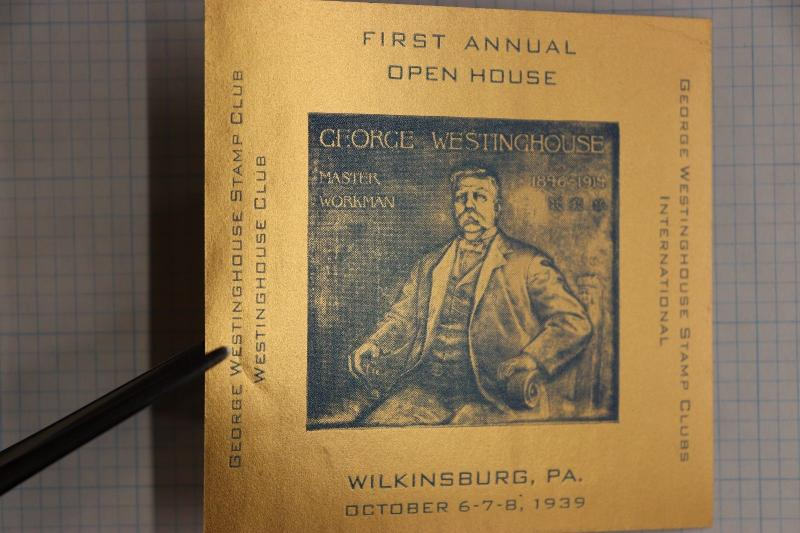 Open House Gold Foil George Westinghouse stamp club 1939 stamp souvenir Poster