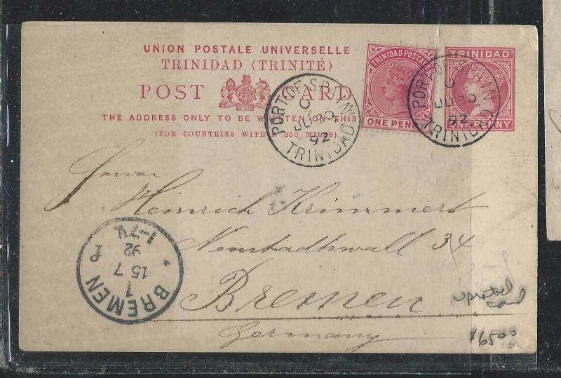 TRINIDAD (P0407B) 1892 QV 1D PS UPRATED 1D TO GERMANY