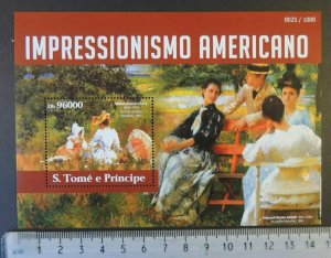St Thomas 2015 american impressionists art william chase women s/sheet mnh