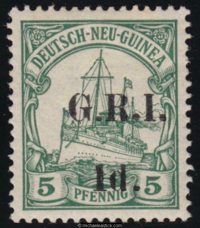 1914 New Guinea 1d GRI overprint on 5pf Green with variety short 1, SG 17b, MH
