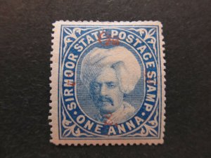 A5P16 Indian States Sirmoor 1892-97 Official red optd T13 1a steel-blue mh* #14