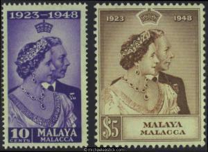 1948 Malaya Malacca Royal Silver Wedding, set of 2, SG 1-2, MH