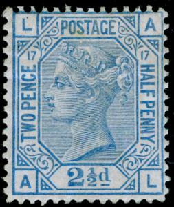 SG142, 2½d blue plate 17, M MINT. Cat £575. AL
