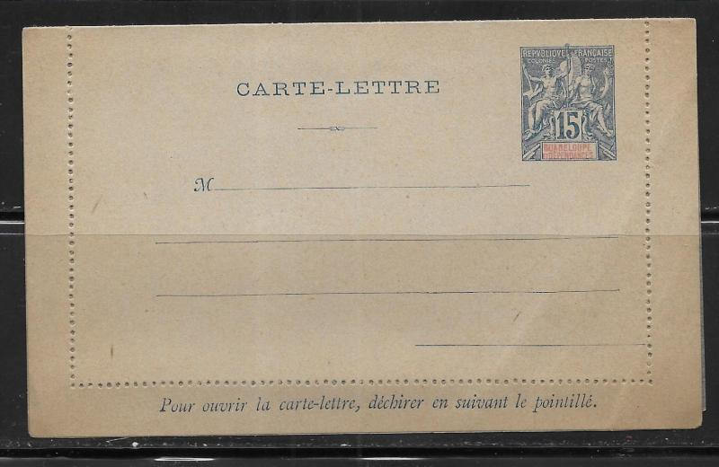 Guadeloupe Postal Stationery Lettercard H&G 1 Unused