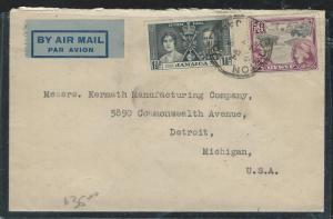 JAMAICA (PP2912B) KGVI CORONATION 1 1/2D+6D A/M  TO USA