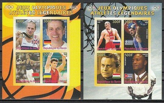 Benin, 2008 Cinderella issue. Olympic Legends on 2 IMPERF sheets of 4.