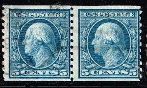 US STAMP  #496 – 1919 5c Washington, blue USED PAIR