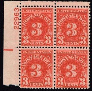 US STAMP #J82 – 1931 3c POSTAGE DUE STAMP MNH/OG BLK OF 4 PL#