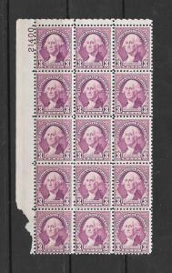 720 MNH, 3c. Washington, Plate block of 15, Free, Insured Shipping