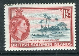 BRITISH SOLOMON ISLANDS; 1953 early QEII issue fine mint hinged 1.5d. value