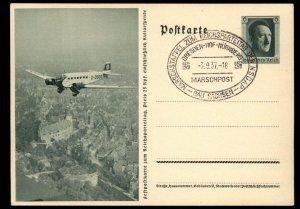 3rd Reich Germany 1937 Nuernberg Reichsparteitag Propaganda Card USED G97653