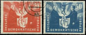 German Democratic Republic Scott #80-#81 Complete Set Used  Catalogs $32