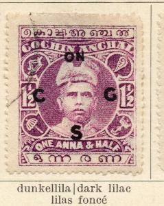 Cochin 1913 Early Issue Fine Used 1.5a. Optd 322433