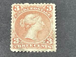 CANADA # 25--USED----SINGLE----RED----1868-76
