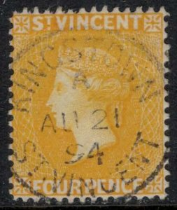 St. Vincent #49  CV $15.00  Perfect Aug. 21, 1894 Kingstown cancellation