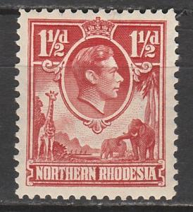 NORTHERN RHODESIA 1938 KGVI GIRAFFE AND ELEPAHNTS 11/2D