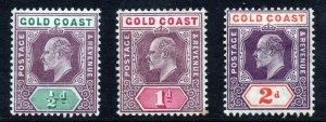 GOLD COAST King Edward VII 1902-09 A Keyplate Group SG 38, SG 39 & SG 51 MINT