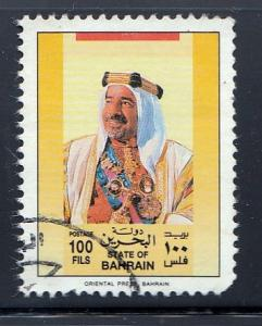 Bahrain #344 Sheik Isa on a stamp issued in 1989. PM