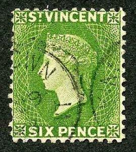 St Vincent SG44 6d Bright Green Wmk Crown CA Perf 12 Cat 300 Pounds