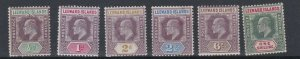 LEEWARD ISLANDS  1902  S G 20 - 26  VARIOUS VALUES TO 1/-  MH