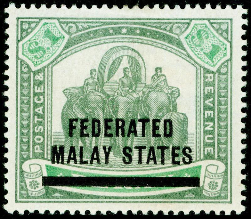 MALAYSIA - Fed. Malay States SG11, 1 green & pale green, M MINT. Cat £200.