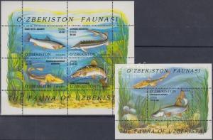 Uzbekistan stamp Fish 2 blocks MNH 2006 Mi 41-42 WS156184