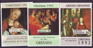Z345 JLstamps 1992 grenada set s/s mnh #2126-8 christmas