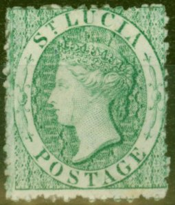 St Lucia 1863 (6d) Emerald SG8x Wmk Reversed Fine Mtd Mint