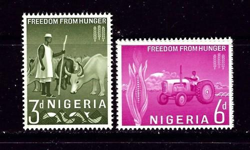 Nigeria 141-42 NH 1963 Freedom From Hunger set