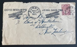 1925 Durban South Africa Early Airmail Cover to Wellington New Zealand