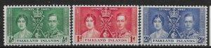FALKLAND ISLANDS SG143/5 1937 CORONATION SET MTD MINT