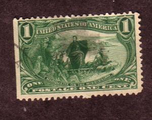 US # 285 1c Trans-Mississippi, Green,(U) CAT. $6.50
