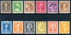 USAstamps Unused VF US Washington Complete Set Scott 704 MNH 715 OG MVLH