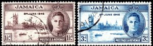 1946 Jamaica Sg 141/142 Victory Issue Fine Used