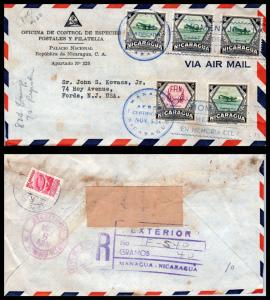 Goldpath: Nicaragua Airmail Cover 1954. Managua. _CV21_P6