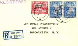 Aden 1 1/2a and 2 1/2a (2) KGVI Peace 1946 Aden Camp Registered to Brooklyn, ...