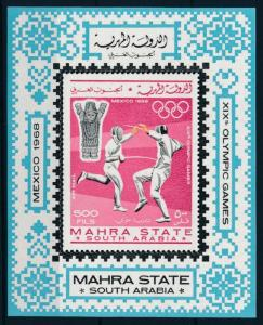 [95437] Aden Mahra State 1967 Olympic Games Mexico Fencing Sheet MNH