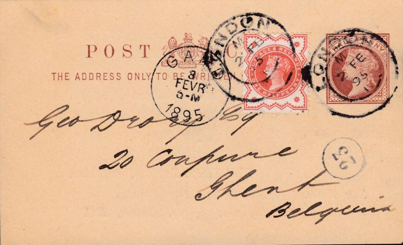 Great Britain 1895 1/2d QV Postal Card Uprated with 1/2d QV Jubilee to Ghent VF