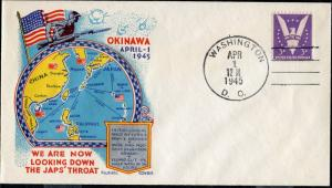 #905 OKINAWA INITIAL LANDING BY 10TH US ARMY & MARINES ON STAEHLE CACHET BN8582