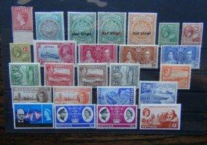 Antigua 1921 4d 1937 Coronation 1946 Victory 1966 Royal Visit etc MM
