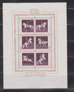 AUSTRIA Scott # 929 MH - Spanish Horses Souvenir Sheet