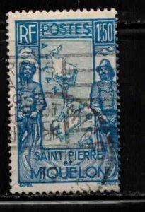 ST PIERRE & MIQUELON Scott # 153 Used - Fisherman & Map