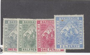 BARBADOS # 81-84 VF-MH BADGE OF COLONY ISSUES CAT VALUE $44+