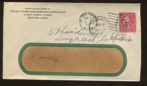 1927 Daytona Buildings & Savings Association Ohio Delaware Cover US Stamps #599