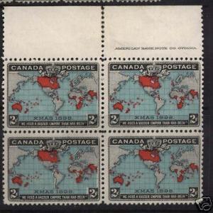 Canada #86 VF/NH Imprint Block