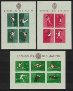 San Marino Football Cycling Basketball Olympic Games 3 MSs SG#MS616a-MS616c