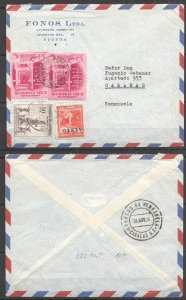 A0541 1958 COLOMBIA TO VENEZUELA ARCHITECTURE WATERFALL AIR MAIL VERY RARE FDC