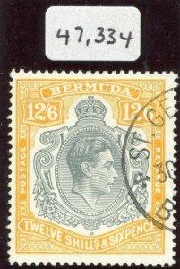 Bermuda 1947 KGVI 12s 6d grey & yellow (p14-O) with BPA Cert VFU. SG 120d.