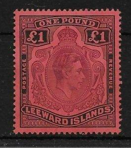 LEEWARD ISLANDS SG114af 1942 1 PURPLE & BLACK ON CARMINE GASH IN CHIN MTD MINT