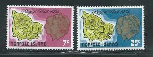 Norfolk Island 172-3 1974 Royal Vist set MNH